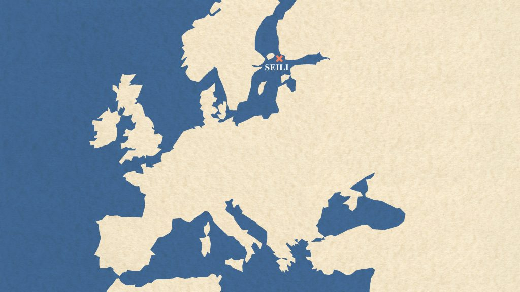 Map of Europe where the Isle of Seili is marked